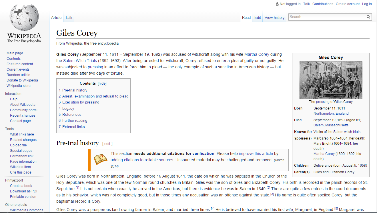 Screenshot of Giles Corey page on Wikipedia showing different sections of the page as described in accompanying text. Taken March 9, 2016