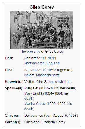 Screenshot of infobox from Giles Corey entry: shows black and white illustration of Giles being pressed on a wooden platform with a crowd around him. Other content described in accompanying text. Taken March 9, 2016.