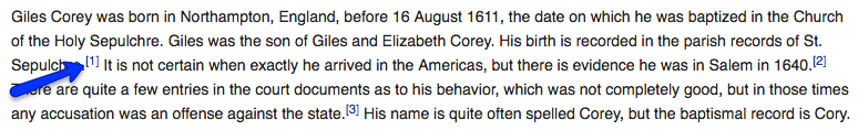 Screenshot of initial paragraph of Giles Corey article. Shows blue arrow pointing to a footnote. Taken November 2, 2016
