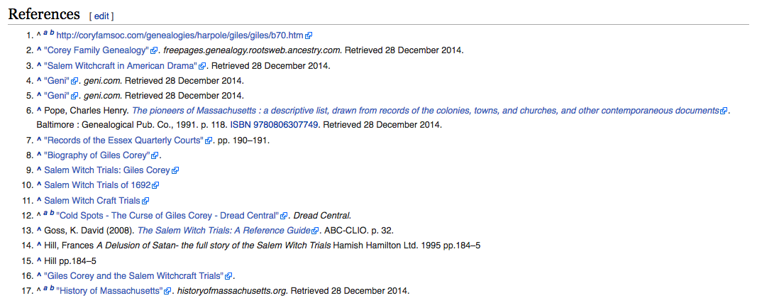Screenshot of references for Giles Corey page shows a list of references with links to sources.