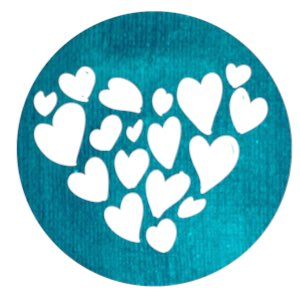 Connecting : heart made of smaller hearts on teal circle background