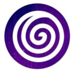 Doing : white spiral on deep purple circle