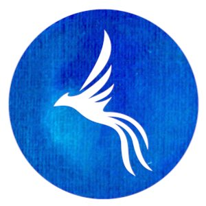 Phoenix: silhouette of phoenix in white on blue circle