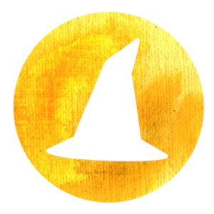Questions: Witch's hat in white on a golden yellow circle