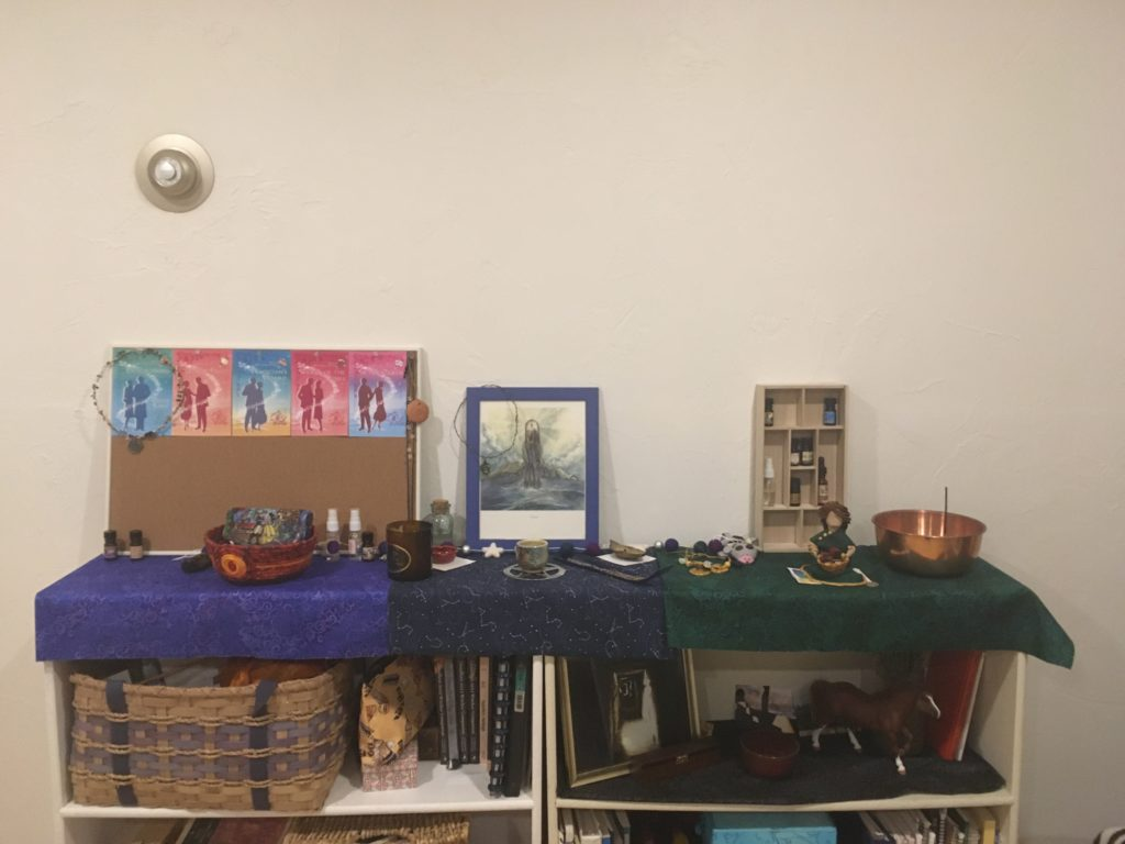 An overview shot of the altar, with three distinct sections (described further below) and a variety of objects.