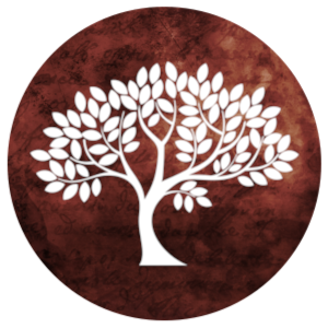 Building icon: tree on a deep red background