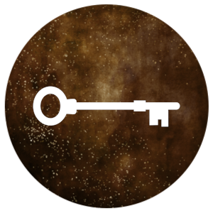 Concepts icon: key on a deep brown background