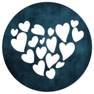 Connecting icon: heart made of hearts on a deep teal background