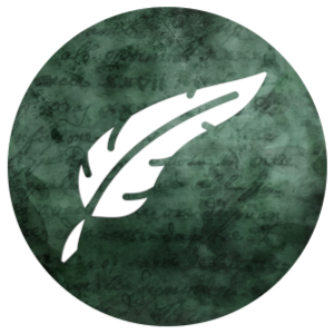 Learning icon: Quill pen on a green background