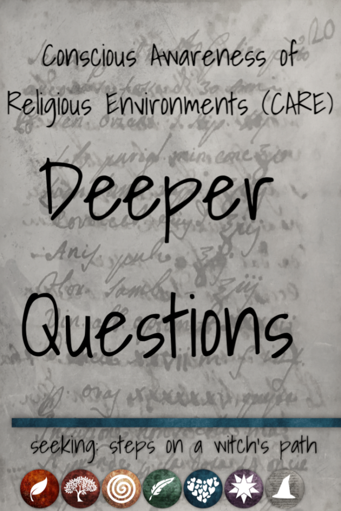 Title card: Conscious Awareness of Religious Environments (CARE): Deeper questions