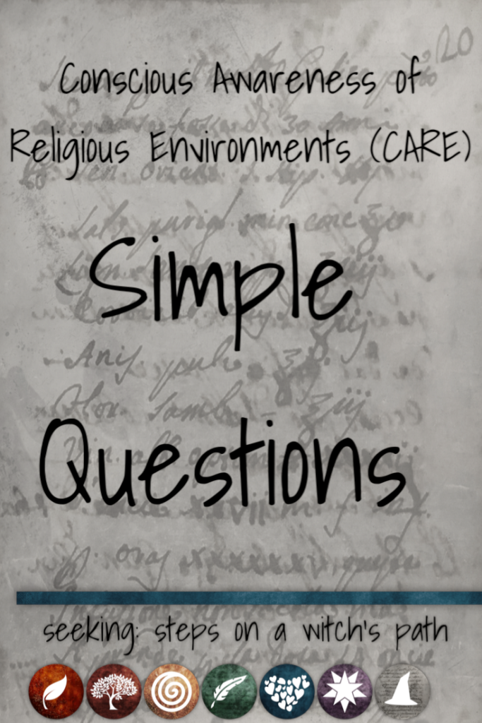 Title card: Conscious Awareness of Religious Enviroments (CARE) - simple questions