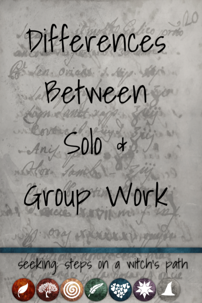 Title card: Differences between solo and group work.