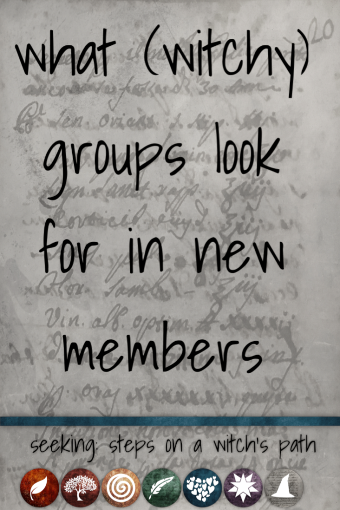 Title card: What (witchy) groups look for in new members.